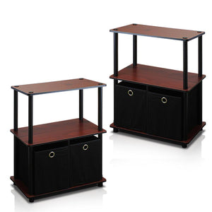 Furinno 3-Tier 2-Bins Multipurpose Storage Shelf 2-99152DC SET OF 2