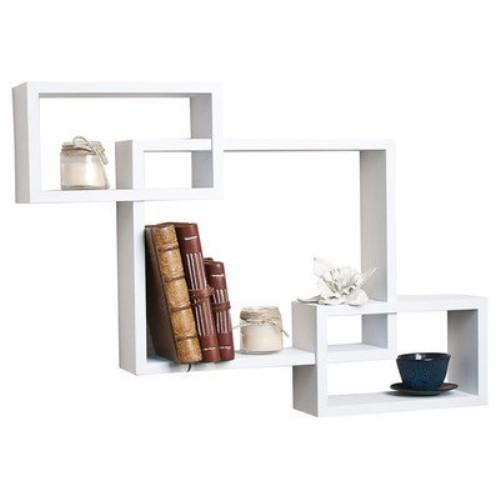Intersecting Hanging Wall Shelves -- White Laminate