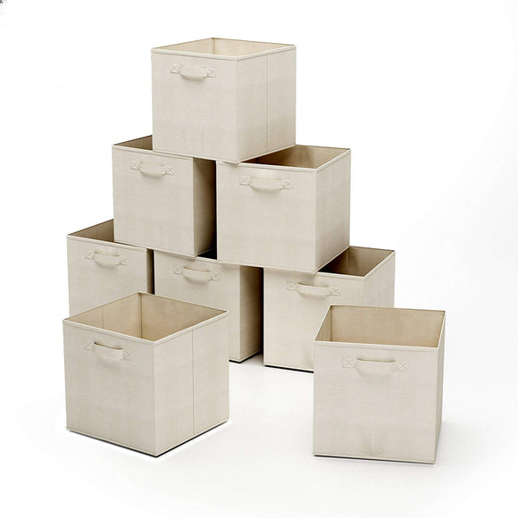 Home-Complete HC-2207 Closet Organizer - Fabric Storage Basket Cubes Bins - 8 Beige Cubicals Containers Drawers,
