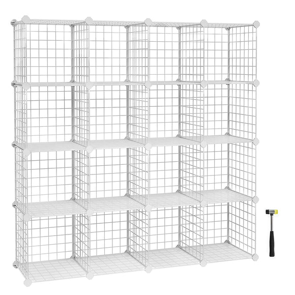 "SONGMICS Metal Wire Cube Storage,16-Cube Shelves Organizer,Stackable Storage Bins, Modular Bookcase, DIY Closet Cabinet Shelf, 48.4""L x 12.2""W x 48.4""H, White ULPI44W"