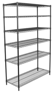 Internet's Best 6-Tier Wire Shelving Rack - NSF Wide Flat Black Home Storage - Heavy Duty Shelf - Wide Adjustable Freestanding Rack Unit - Kitchen Business Organization - Commercial Industrial