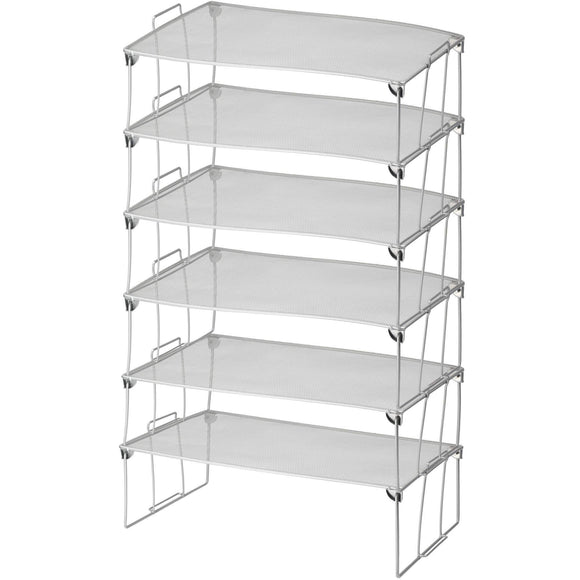 YBM HOME Stainless Steel Stackable Mesh Shelf (Silver) - Multipurpose Storage Rack for Kitchen/Bathroom/Garage/Office - Durable, Wire Pantry Organizer - Foldable Space Saving Design 2257-6 (6, Large)