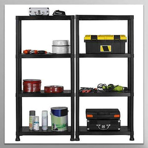 Garage Shelving Unit with Wall Brackets (Pack of 2) - Black Plastic Interlocking Utility Storage Shelves - Each Unit: 52 x 24 x 12 inches