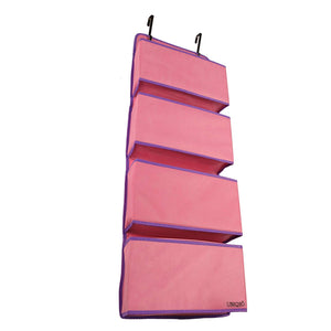 UBEQEÔ Large Over The Door Organizer and Storage Shelves | Ideal for Back of The Closet Doors Organizers | Big Basket Pockets for Bathroom Hanging Wall Storage (Pink Purple)