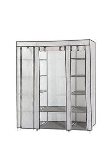 Dream Palace Portable Fabric Wardrobe with Shelves, Covered Closet Rack, with Bonus Sock Organizer, Hanger Pack, Extra Wide 59 (White)