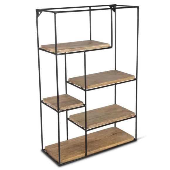 24-Inch Tiered Mango Shelving Unit with Metal Frame