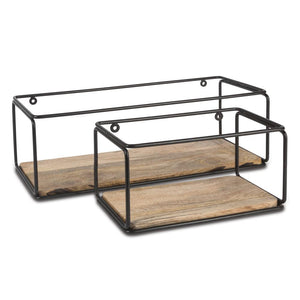 Assorted-Size Mango Wood and Metallic-Frame Wall Shelves (Set of 2)