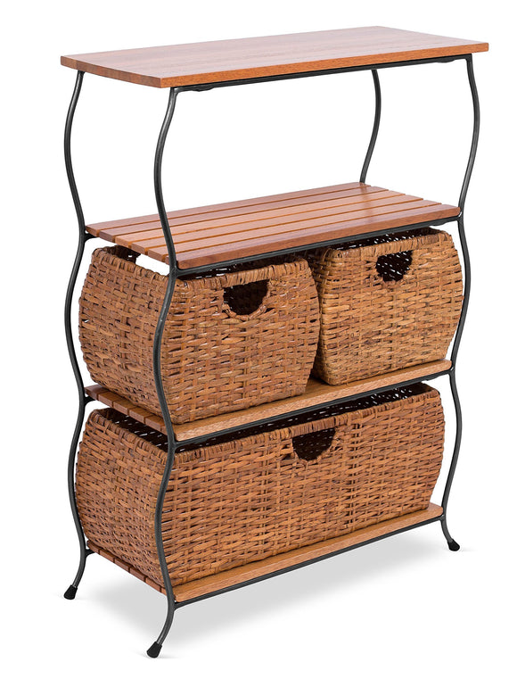 BIRDROCK HOME Industrial 4-Tier Shelving Unit with Rattan Woven Baskets - Delivered Fully Assembled - Wooden Freestanding Shelves with Storage Bins - Decorative Living Room Shelf