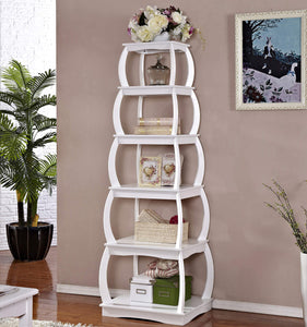 "Mixcept 66"" Multi-Purpose Shelves 5 Tier Bookshelf Bookcases Wooden Storage Display Shelf Standing Shelving Unit Collection Shelf, White"