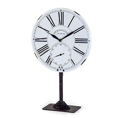 40cm Tall White Enamel Style Table Clock On Stand