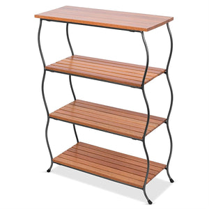 Freestanding 4-Shelf Wood Metal Shelving Unit Bookcase