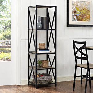 "61"" Tall X,Frame Metal and Wood Media Bookshelf in Driftwood Finish"