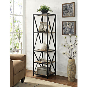 "61"" Tall X,Frame Metal and Wood Media Bookshelf in Barnwood Finish"
