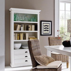 Hamptons Style Bookcase with 3 Drawers - CLEARANCE