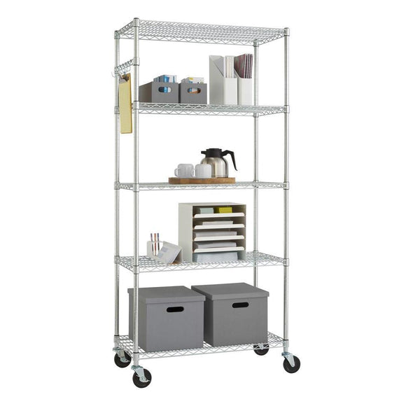 Chrome 5-Tier Steel Wire Kitchen Storage Rack Shelving Unit on Casters