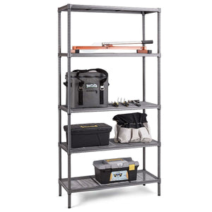 Durable Metal 5-Shelf 72-inch Storage Rack Shelving Unit