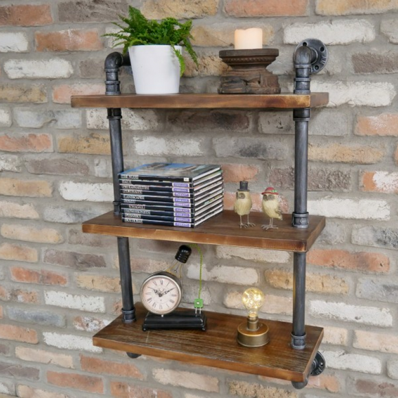 95cm Tall Wood & Steel Pipe Shelves