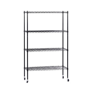 90cm 4-Tier Wire Shelving Unit Mobile Kitchen Storage Trolley Black