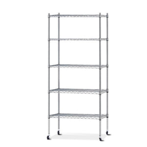 90cm 5 Tier Metal Wire Rack Shelving Unit Chrome Storage Shelves Racks Kitchen Trolley Silver