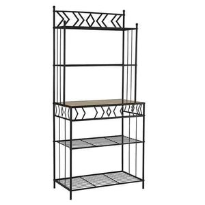 Kitchen Bakers Rack in Black Metal with Marble Finish Top