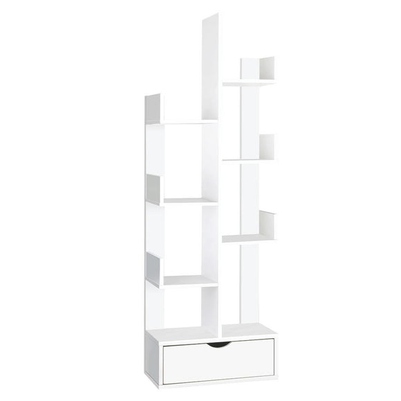 Artiss Wooden Tree Storage Display Shelf Bookcase CD Rack Shelving Unit Drawer White