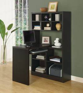 CAPPUCCINO LEFT OR RIGHT FACING CORNER COMPUTER DESK WITH DISPLAY SHELF