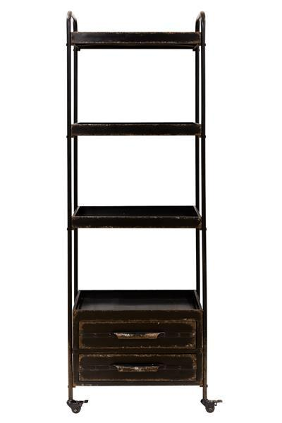 Distressed Ryland Rustic Chic Industrial Shelving Unit With Castor Wheels
