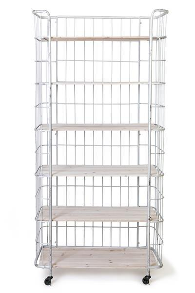 Jasper Industrial Chic Storage Shelving Unit With Castor Wheels