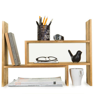 Dark Brown Wood Adjustable Desktop Storage Display Rack