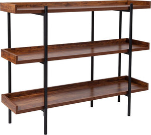 "3 Shelf 35""H Storage Display Unit Bookcase with Black Metal Frame in Rustic Wood Grain Finish"