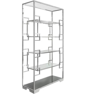 Glass Shelving Unit with Polished Steel frame