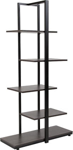 5 Tier Decorative Etagere Storage Display Unit Bookcase with Black Metal Frame in Driftwood Finish