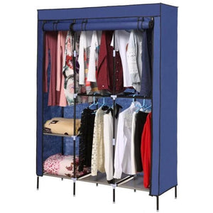 Blue 68-inch Bedroom Wardrobe Closet Shelving Unit