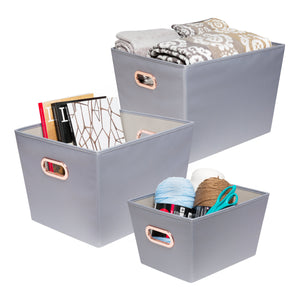 3-Piece Organizing Totes, Grey