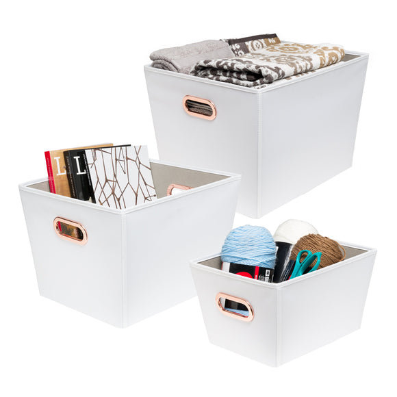 3-Piece Organizing Totes, White