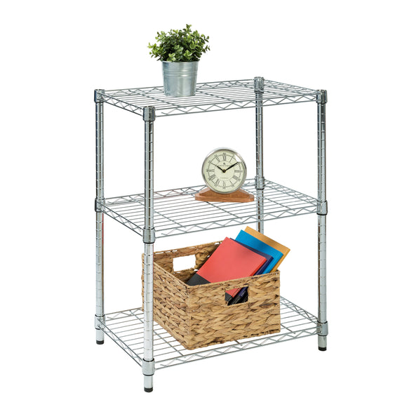 3-Tier Adjustable Shelving Unit with 250-lb Weight Capacity, Chrome