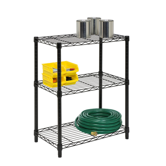 3-Tier Heavy Duty Adjustable Shelving Unit, Black
