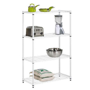4-Tier Adjustable Shelving Unit with 250-lb Weight Capacity, White