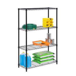 4-Tier Adjustable Shelving Unit with 250-lb Shelf Capacity, Black