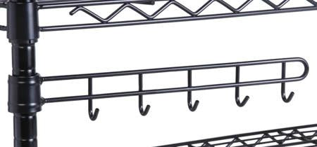 Shelving Unit Swivel Hooks, Black