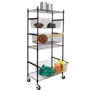 Sports Equipment Storage Shelving Unit, Black