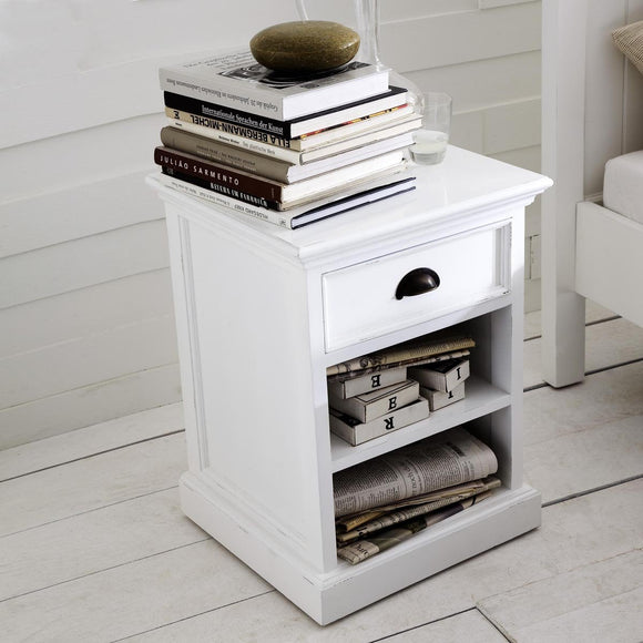 Hamptons Style Side Table, Shelf & Drawer