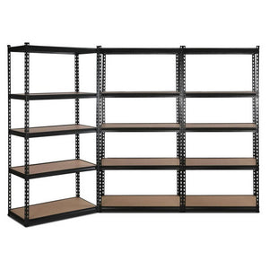 Giantz 3x0.9m Warehouse Racking Rack Steel Metal Garage Storage Shelves Black