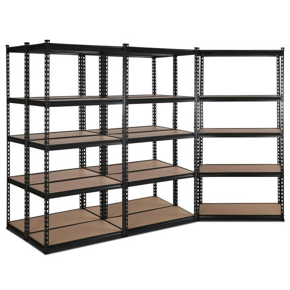 5x0.9m Warehouse Racking Rack Steel Metal Garage Storage Shelves Black