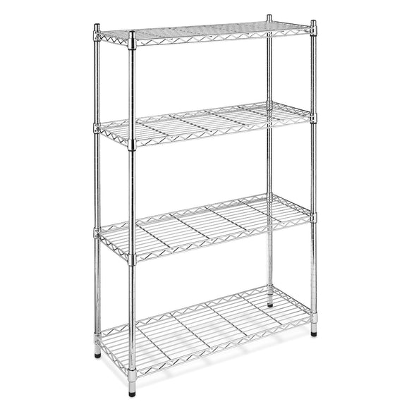 4-Shelf Steel Storage Shelves in Chrome