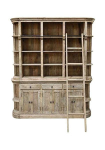Natural Timber Library Bookcase With Ladder