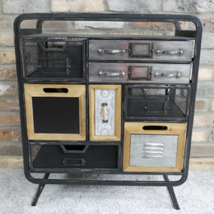 Quirky Industrial Metal & Wood Cabinet