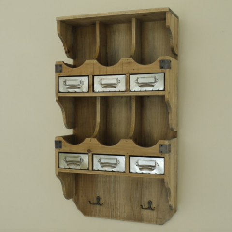 Wooden Wall Storage with Metal Drawers & Hooks