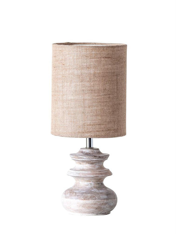 Small Bleached Mango Wood Table Lamp with Jute Shade - 13-1/2-in