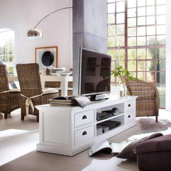 Halifax White Painted TV Unit with 4 Drawers